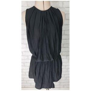 Zara Basic Black High Neck Pleated Sleeveless Top